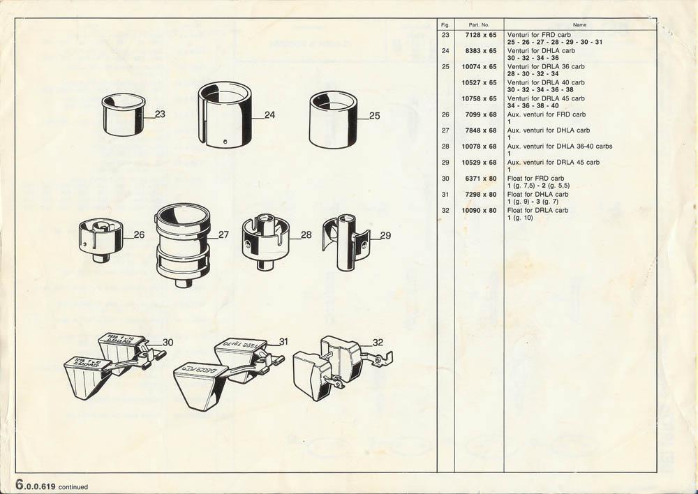 """foto Carburatore Dell'Orto DRLA36 : schemi """"esplosi"""" - 1"""