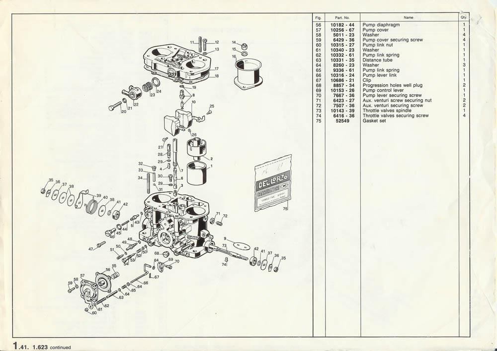 """foto Carburatore Dell'Orto DRLA36 : schemi """"esplosi"""" - 3"""