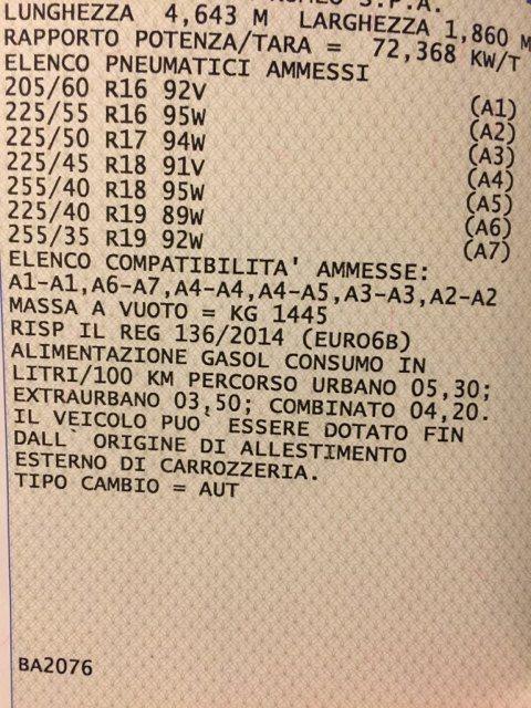 foto Alfa Giulia veloce misure libretto pneumatici - 1