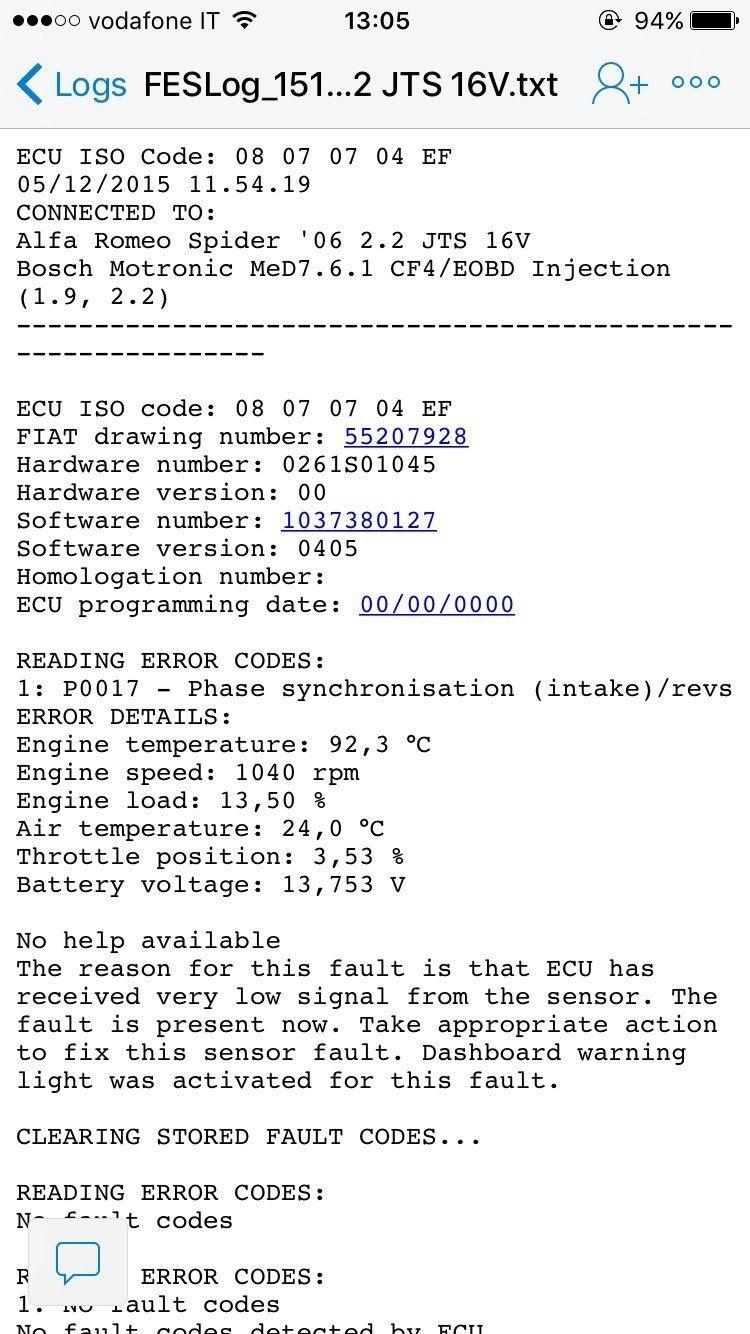 foto 159 2.2 jts alcuni problemi legati all'errore p0017 - 1